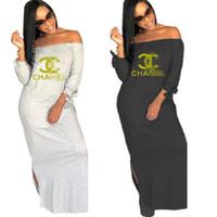 mini vestido coreano de una pieza al por mayor-Diseñador de las mujeres Vestido C Cartas Impreso Verano Mujeres fuera del hombro vestido de marca de moda Split faldas largas trajes ropa casual C7807