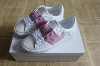 ingrosso disegno stella rosa-Nuove scarpe da uomo di design con la migliore qualità di lusso aperto abito sneaker box rosa colore stella casual scarpe da corsa per uomo vendita taglia 38-49