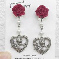 ingrosso orecchini in perle di barocco-gioielli di design orecchini di stile barocco fiori stud cuore pendente perla orecchini nappa per le donne classico caldo grazioso moda