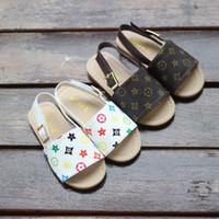 bebek ayakkabı deseni sandaletler toptan satış-Yeni 2019ins çocuk sandalet bebek plaj sandalet moda kızlar ayakkabı yaz yeni minimalist desen 2 renk ücretsiz kargo