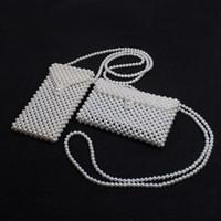 monederos de perlas al por mayor-Bolso Mensajero de Perlas Hechas A Mano Retro Mini Bolso de Diseño Bolso de Hombro Niñas Señora Niños Elegantes Ins Monederos HHA725