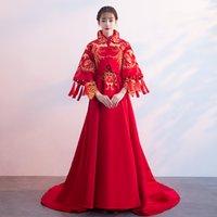 chinesische polyester-troddel großhandel-Traditioneller Chinese Laides Schleppendes Kleid Neue Braut Hochzeit Cheongsam Anzug Edle Quasten Stickerei Qipao Toast Kleidung S-XXL