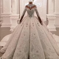 Wholesale crystal brides dress dubai for sale - Group buy 2020 Dubai Luxury Crystal Beaded Applique Lace Ball Gown Wedding Dress High Neck Sheer Long Sleeve Hollow Back vestido de noiva bride dress