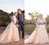 Wholesale champagne detailed wedding dress for sale - Blush Pink Plus Size Wedding Dresses with Long Sleeve White Lace Applique Jewel Neck Country Garden Bridal Wedding Gown