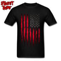 fe1a49f5e7 Cowboy USA Flag T-shirt Men Striped T Shirt Red Tops Guys Cotton Shirts  America Flag Print Clothes Team Punk Tees Wholesale