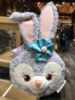 peluche authentique achat en gros de-Anime authentique ours duffy ami stellalou visage de lapin en peluche sac à main souple sac fourre-tout jouet cadeau