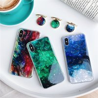 Wholesale orange gemstones resale online - Gold Foil Bling Marble Bracket Phone Case for iPhone XS Max XR X Plus Soft Silicone Emerald Gemstone phone cases