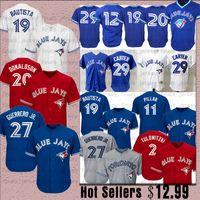 12 mavi formalı toptan satış-27 Vladimir Guerrero Jr. Toronto Blue 19 Jose Bautista Jays Jersey 29 Joe Carter 12 Roberto Alomar 20 Josh Donaldson