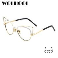 3caf61d08883b Moda Olho de Gato Meninas Vestindo Óculos De Metal Armações de Designer de  Óculos de Armação De Óculos Falsos Óculos de Prescrição Das Mulheres