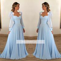 mavi şifon gece elbisesi toptan satış-Zarif Sky Blue Abiye Şair Uzun Kollu A Hattı sevgiliye Uzun Şifon Arapça Abiye giyim Custom Made
