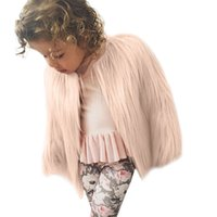 Wholesale faux toddler jackets online - good quality Fashion baby girl coat Toddler Kids Baby Girl Winter Warm Clothes Faux Fur Thick Solid Coat Outwear veste enfant fille
