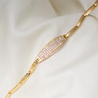 coole kupferschmuck großhandel-Punk Cool Gold Kupfer Armbänder für Frauen Zirkonia Fashion Chain Link Armband Schmuck Geschenk Dropshipping