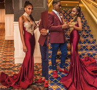 Wholesale sexy backless picture resale online - 2020 African Girls Burgundy Prom Dresses With Gold Embroidery Appliqued High Neck Mermaid Split Evening Gowns Sweep Train Vestidos De Novia