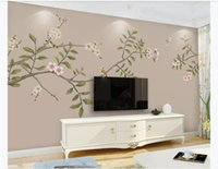 Wholesale traditional pen for sale - Group buy Custom d photo wall murals wall paper New Chinese style hand painted flowers and birds pens flowers and birds HD TV background wall