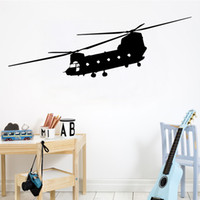 Wholesale wallpapers for livingroom resale online - Vinyl Airplane Wall Stickers for Boys Livingroom Bedroom Helicopter Home Decoration Decal Art Wallpapers Mural