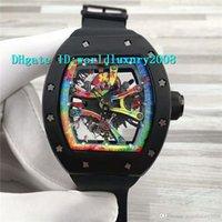 спортивные наручные часы mens sapphire оптовых-Top ARTISTS Graffiti RM68-01 Мужские наручные часы с черным керамическим циферблатом и циферблатом 8215 Автоматические часы с сапфировым стеклом Спортивные дизайнерские часы