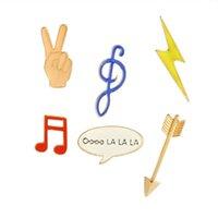ingrosso spille di note musicali-Smalto Nota musicale Flash Arrow Lepal Pins Spille Gioielli moda per donna Uomo Drop Ship 370021