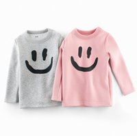meninas do bebê rosa camisetas venda por atacado-Sorriso rosto impressão baby tshirts algodão crianças crianças rosa engrossar roupas macias tees de manga comprida meninos meninas tops fall / inverno dropship