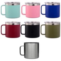 Wholesale coffee white chocolate for sale - 14oz Coffee Mugs Kid Milk Cup Stainless Steel Cup With Lid Double Wall Vacuum Insulated Mugs Metal Wine Glass Hydration Gear