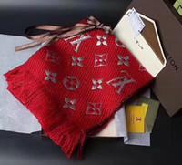tops de hilo al por mayor-Bufanda tejida con hilo de cachemir de colores de diseñador superior Bufanda de marca de invierno para hombres y mujeres Mantón de mujer cálida y suave