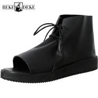 zapatos abiertos de la vendimia para los hombres al por mayor-2019 Nueva Plataforma Vintage Sandalias Hombres Cuero Genuino Británico Roma Sandalias Hombres Verano Casual Zapatos de punta abierta Botas de playa