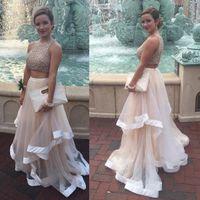 vestidos de noite requintados cristais frisados venda por atacado-Requintado Lantejoula Frisado Organza Ruffles Prom Vestidos de Duas Peças Branco Cristais Corpete Longos Vestidos de Noite Elegante Prom Vestido de Festa DH370
