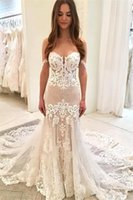 Wholesale sweetheart mermaid wedding dress cheap for sale - 2019 Elegant Mermaid Wedding Dresses Custom Made Sweetheart Appliqued Ruched Tulle Summer Boho Bridal Gowns Cheap