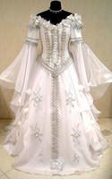 vestidos de novia celta al por mayor-Vestido de novia medieval CELTIC tudor renacimiento traje victoriano gótico lotr larp handfasting wicca narnia pagana vestido de boda