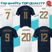 xxl weißes hemd großhandel-2020 Real Madrid Home Weiß # 7 HAZARD # 9 BENZEMA # 11 BALE Trikots 19/20 Männer Fußballshirts auswärts madrid Cunstomized Fußballuniformen