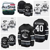 jerseys de jogo juvenil venda por atacado-2019 All Star Game 40 Elias Pettersson Personalizar Homens Mulheres Juventude Vancouver Canucks Hóquei Jerseys Preto Branco Jersey Camisas Costuradas