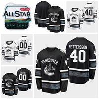 ingrosso stelle di camicia nera-2019 All Star Game 40 Elias Pettersson Personalizza Uomo Donna Gioventù Vancouver Canucks Maglie da hockey Maglia bianca nera Camicie cucite