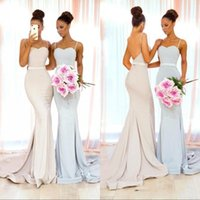 Wholesale summer party dresses online - 2019 Elegant Cheap New Mermaid Bridesmaid Dresses Spaghetti Straps Floor Length Pleats Formal Maid Of Honor Dress For Wedding Party