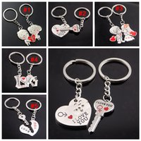 романтический подарок любовника  оптовых-Metal creative lover keychain I LOVE YOU Heart Key Ring Romantic car Valentine's Day gift Couple I Love You key chain LJJA3713
