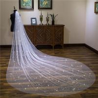 elfenbein weiße brautkleider großhandel-4 Meter Kathedrale Schleier Für Hochzeitskleid Sparkling Satrs Brautkleid Weiß Elfenbein Weicher Tüll Weiß Elfenbein Tüll Eine Schicht Mit Kamm