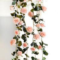 rosas artificiais de toque real venda por atacado-180 cm Artificial Rose Flor Hera Videira Real Toque Flores De Seda Corda Com Folhas para Casa Pendurado Guirlanda Festa Artesanato Decoração Do Casamento Da Arte