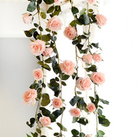 ingrosso vigna della rosa di cerimonia nuziale-180cm Artificiale Rose Flower Ivy Vine Vero tocco di seta fiori stringa con foglie per casa Hanging Ghirlanda Party Craft Art Wedding Decor