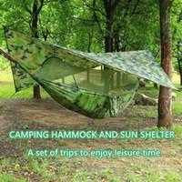 Pop-Up Portable Camping Hammock with Mosquito Net and Sun Shelter,Parachute Swing Hammocks Rain Fly Hammock Canopy Camping Stuff SH190924