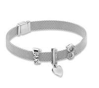 clip charms rolhas venda por atacado-925 Sterling Silver Bead Charme Do Vintage Reflexões Carta de Amor Clipe Stopper Beads Fit Pan Pulseira Diy Jóias