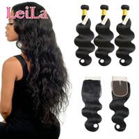 gefärbtes peruanisches haar großhandel-Peruanische reine Haarkörperwelle 3 Bündel mit 4X4 Spitze-Schließungs-unverarbeiteten Menschenhaar-Webarten können natürliche Farbe 8 Zoll-28inch gefärbt werden