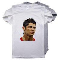 saf pamuk gömlek erkek toptan satış-DIY T. Gömlek Pure Cotton Yaz Kısa Kollu Yıldız Cristiano Ronaldo Baskı Erkek O-boyun tişört Beyaz Gri