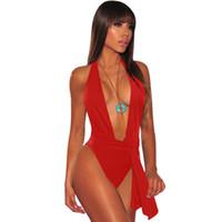8d38c43d4d5 Sexy Bandage One Piece Swimsuit Women Swimwear 2018 Blue Halter High Cut  Brazilian Beach Bathing Suit Monokini Swimsuit