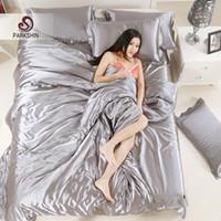 Wholesale grey silk bedding sets resale online - ParkShin Silk Satin Bedding Set Solid Color Bed Linen Silver Grey Duvet Cover Set Soft Tencel Flat Sheet or