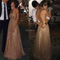 Wholesale stylish modern dresses resale online - Luxury Sparkly Prom Dresses Spaghetti Backless Sweep Train Special Occasion Dress Stylish Formal Party Evening Gowns Cheap Hot Vestidos