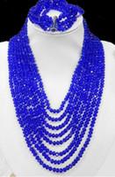 colar de contas de cristal azul escuro venda por atacado-Casamento 8 fileiras de jóias de cristal azul escuro grânulos cadeia colar, 5 fileiras de conjuntos de pulseira