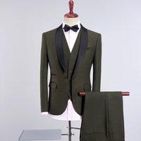 armee grüne brautkleider großhandel-3 stück Armee Grünen Anzug Männer Herbst Winter Slim Fit Hochzeit Anzüge Für Männer Multi Farbe One Button Business Formal Wear Kleid Anzüge Männer