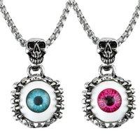 kırmızı göz sarkıt toptan satış-Gözler Kolye Kolye Türkiye Mavi Kırmızı Şeytanın Gözü Adam Kadın Kafatası Bildirimi Kolye Bijoux Gotik Erkekler Kolye