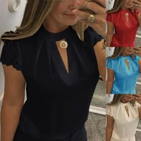 Wholesale New Sexy Womens Ladies High Choker V Neck Back Zip Lace Casual T Shirt Tops Blouse Plus Size S XL