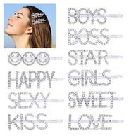 clips hechos a mano al por mayor-Carta pinzas para el cabello para niñas de las mujeres 10 unids, moda dulce palabra pasadores para el cabello pasadores Crystal Bobby Pins, Bling decorativo hecho a mano de lujo
