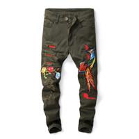 армейские брюки тонкие оптовых-Мода Hi Street Мужские рваные байкерские джинсы Phoenix Вышивка Slim Fit Проблемные джинсовые брюки Брюки Человек Army Green, 573 #
