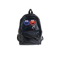 Wholesale gym bag for sale - Women Laser Bag Sesame Street Outdoor Sports Knapsack Girl Students Two Shoulder Backpack Polyester Fiber Black Silvery jl C1